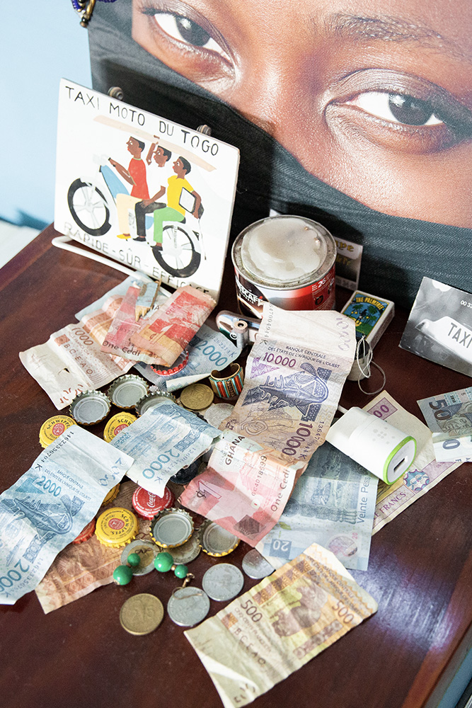 Travel mementos: Nigerian naira, Ghanaian cedis, Mexican pesos, francs, euros, and more.
