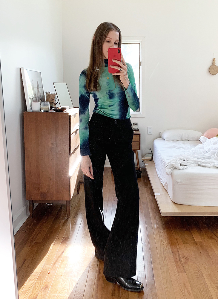 James: Callipygian Tie-Dye Turtleneck. Mango Flared Trousers. Calvin Klein Claire Western Boots.