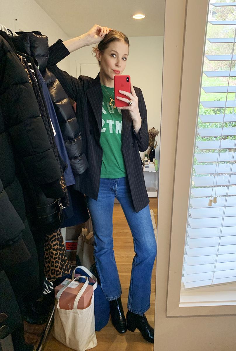 James: Ganni Pinstripe Blazer. Celine Initial Necklace. Shop Future Vintage T-shirt. Vintage Levi's Jeans. Freda Salvador Black Croc Boots.