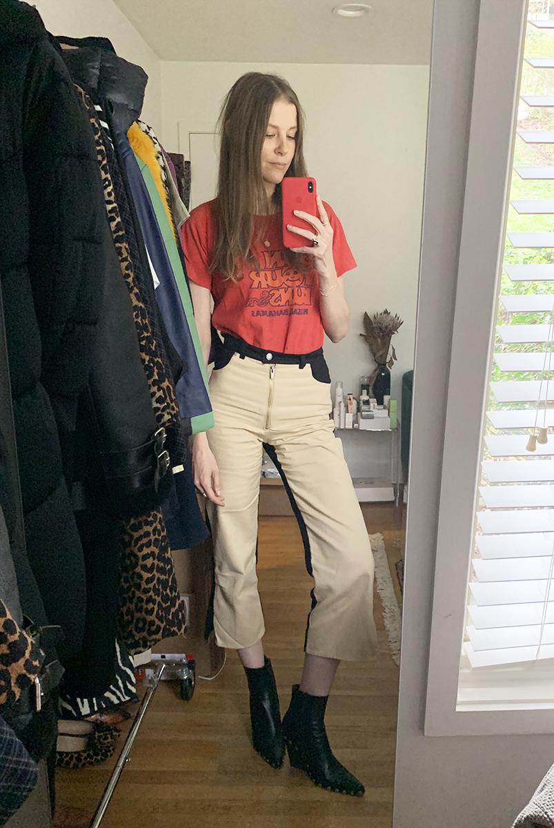 Shop Future Vintage Tee. Veda Eclipse Jeans. Celine Rodeo Boots.
