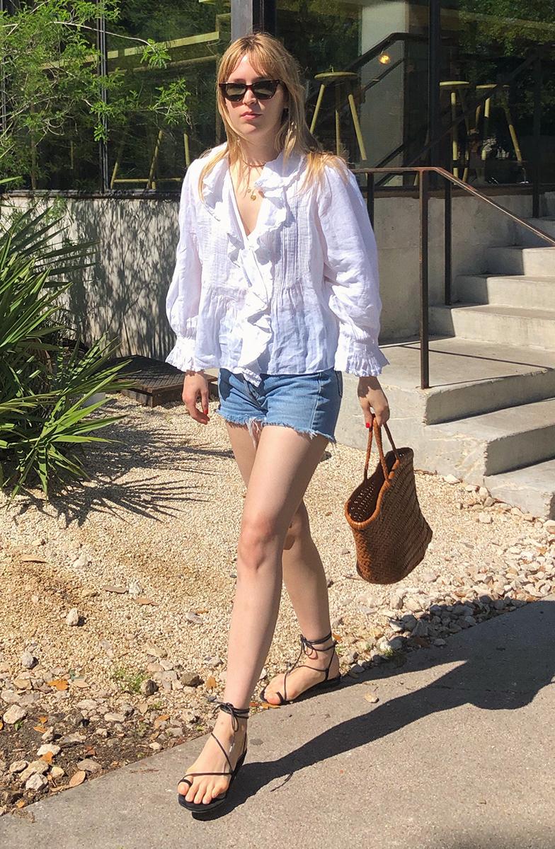 Meghann: Dôen Blouse, Vintage Levi's Shorts, Emme Parsons Sandals, Dragon Diffusion Bag. Celine Sunglasses.