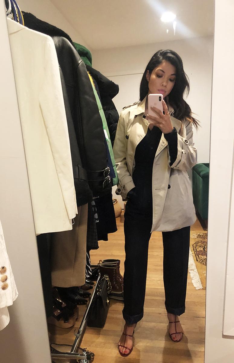Tiana: Zara Trench. Thrifted Pants. Everlane Cashmere Sweater. Zara Shoes.