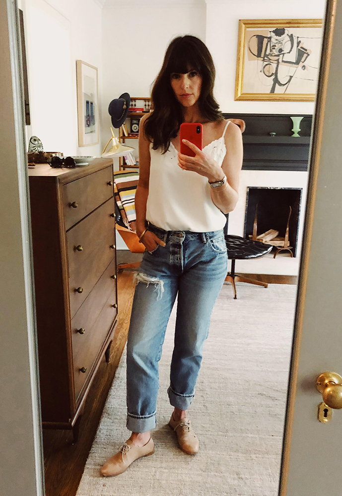 Sarah: Aritizia Camisole. Moussy Jeans. Coclico Oxfords. Cartier Watch.