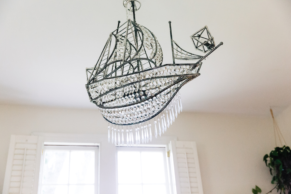 Crystal ship chandelier.