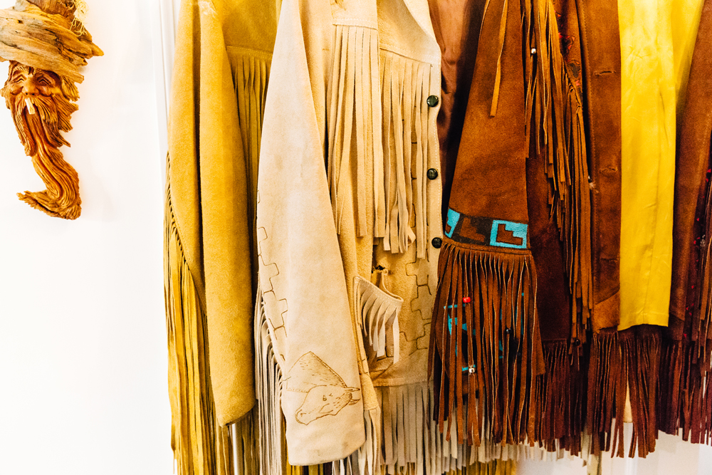 Ruby's collection of vintage fringe jackets.