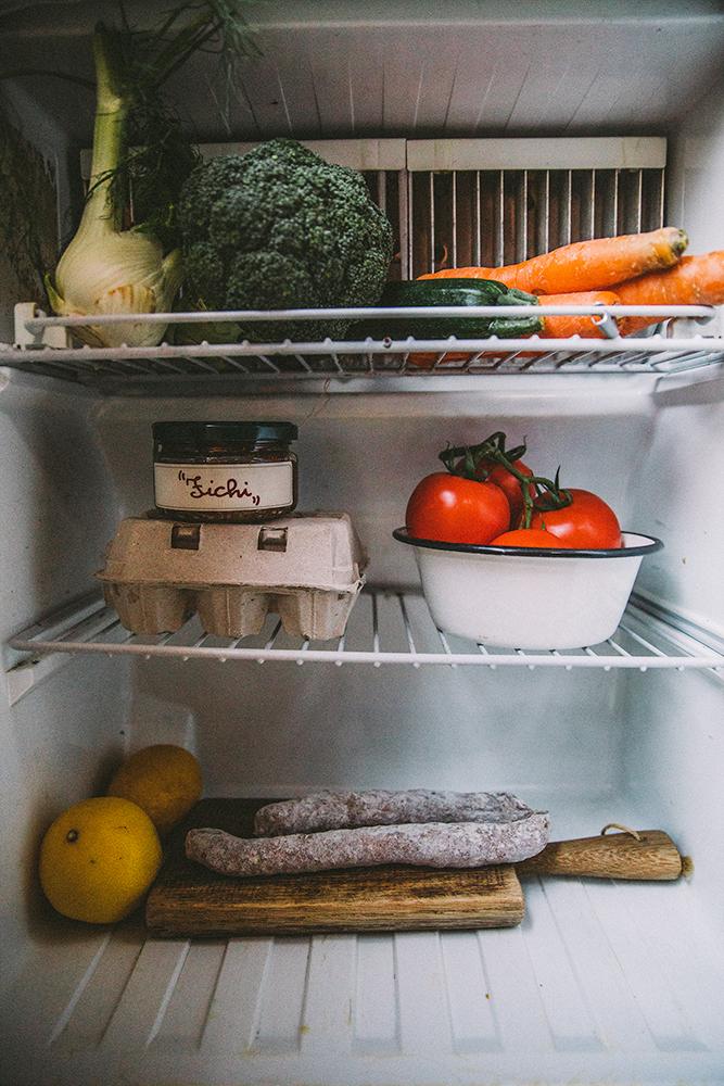 Inside the tiny fridge.